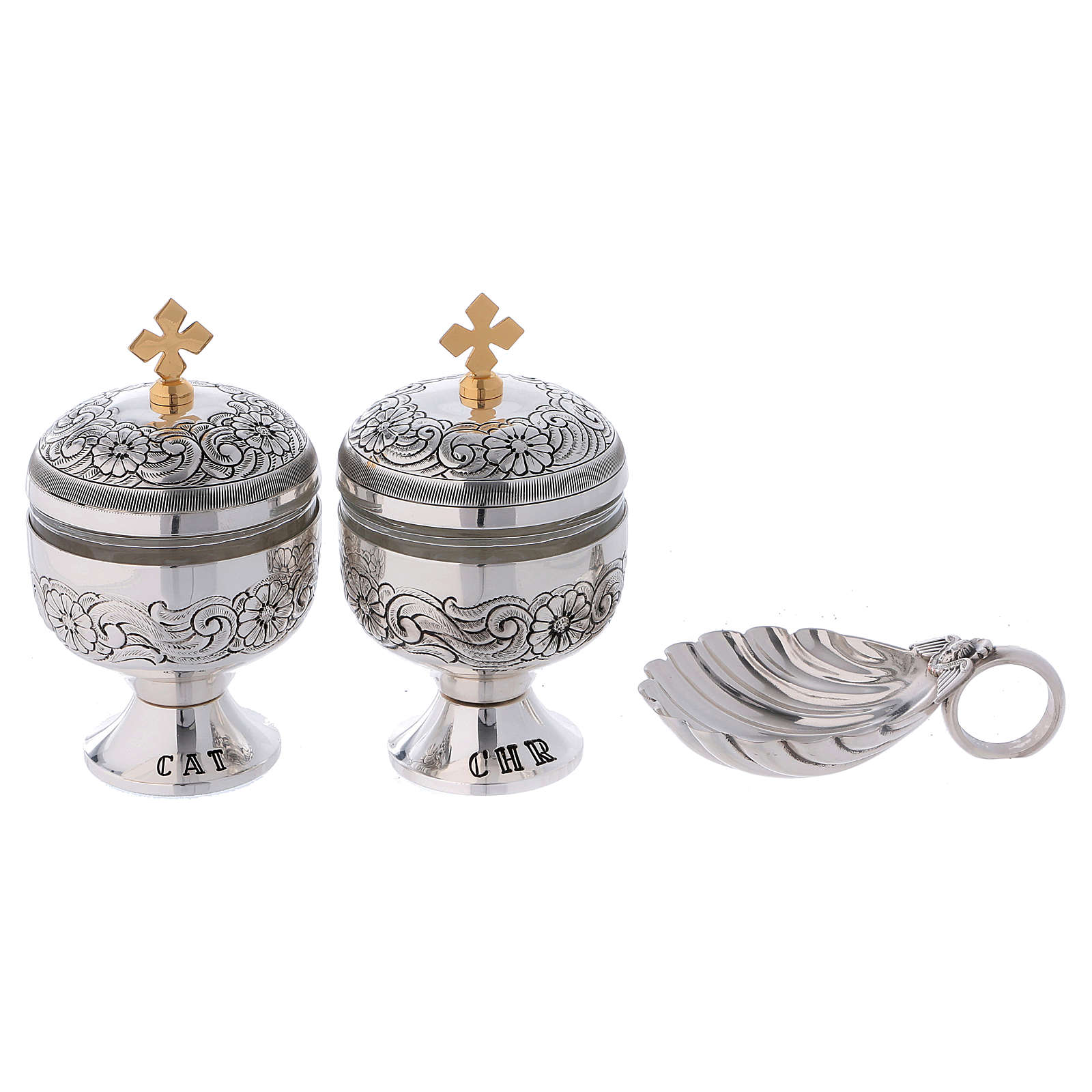 Holy oils: baptism set with two vases and a shell 3