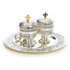 Holy oils: baptism set with two vases and a shell s10