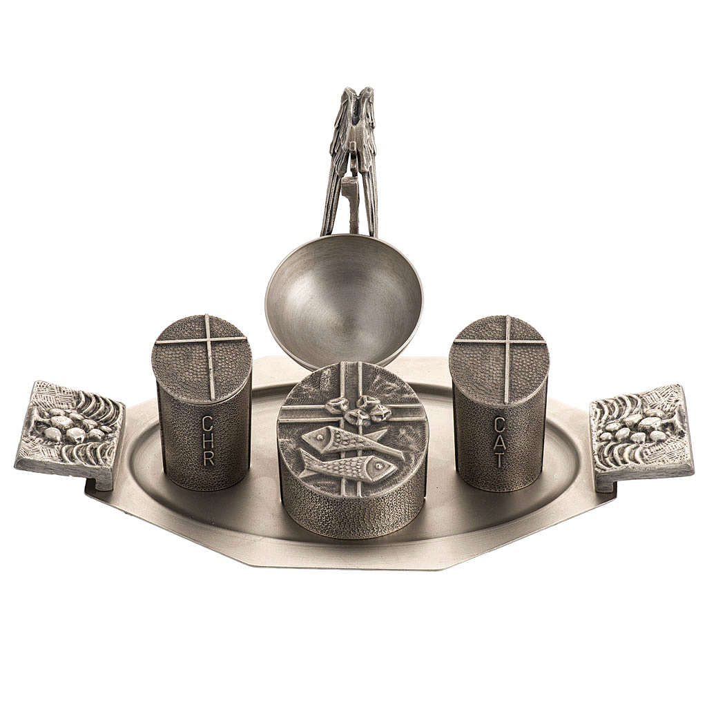 Set for Holy oils in silver-plated bronze 3