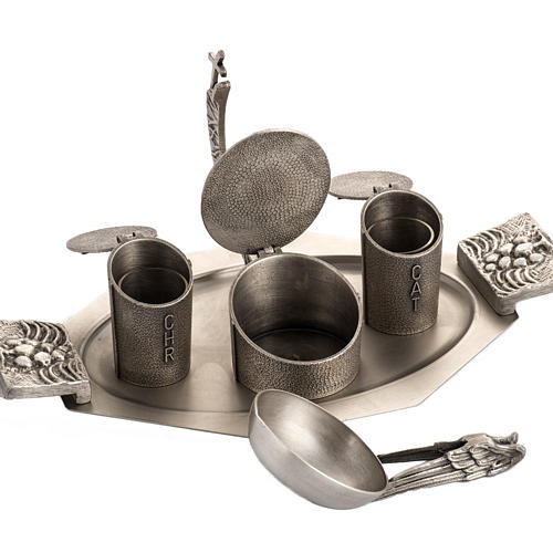 Set for Holy oils in silver-plated bronze 4