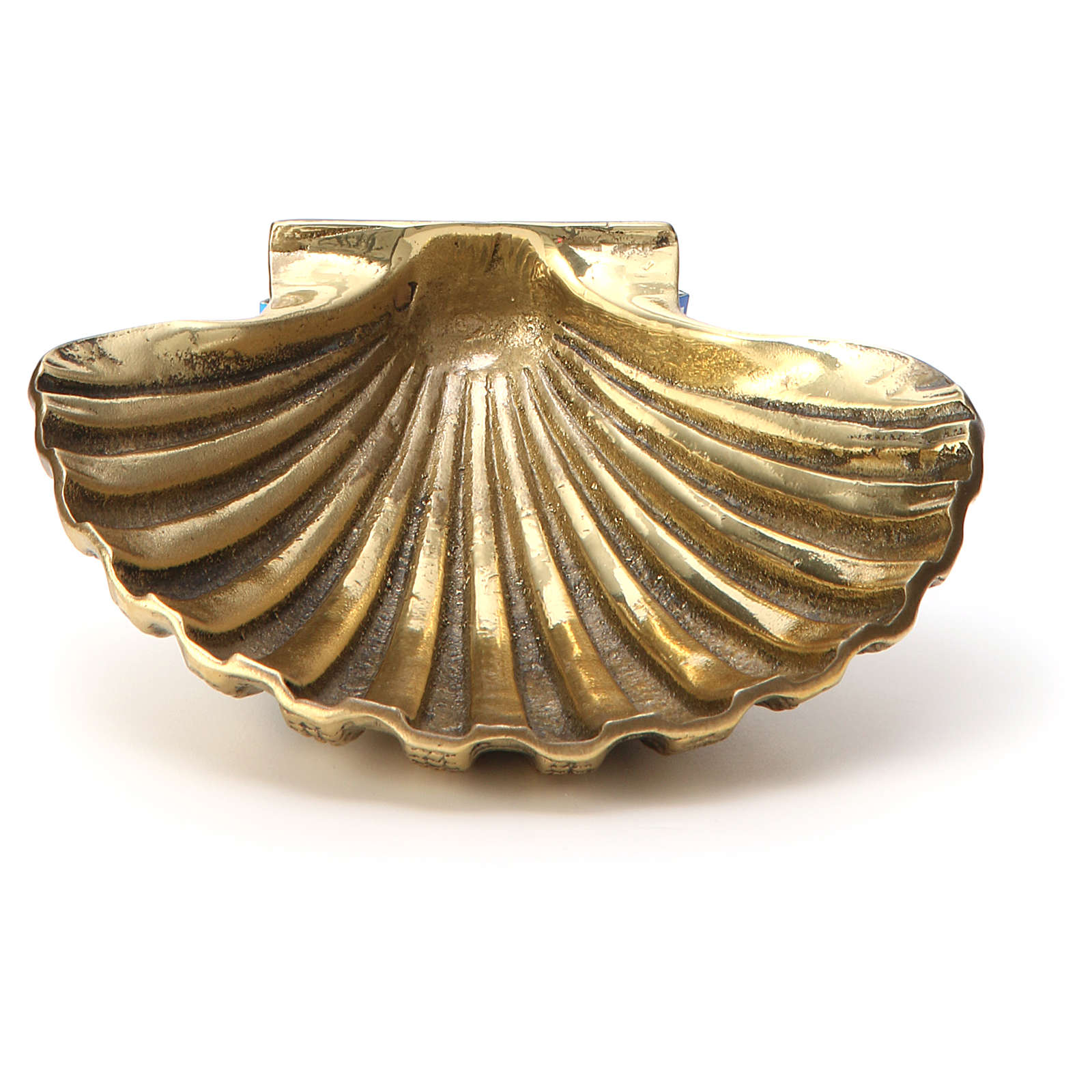 Taufmuschel aus bronzefarbigen Messing 13x10 cm 3