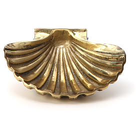 Baptismal shell in gold plated bronze 13x10cm s1