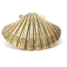 Baptismal shell in gold plated bronze 13x10cm s2