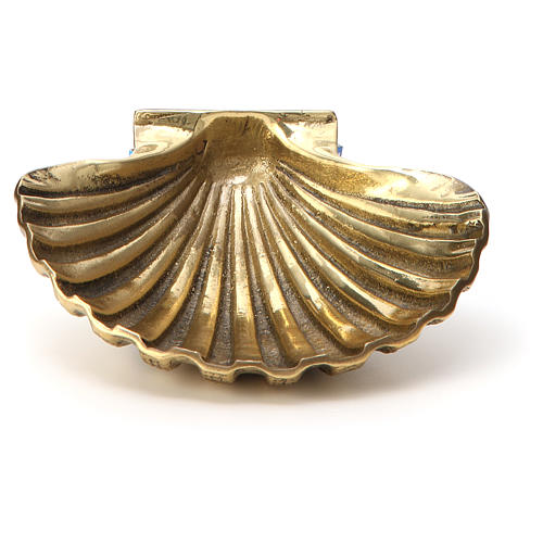 Baptismal shell in gold plated bronze 13x10cm 1