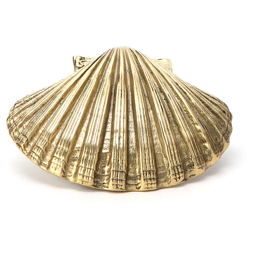 Baptismal shell in gold plated bronze 13x10cm 2