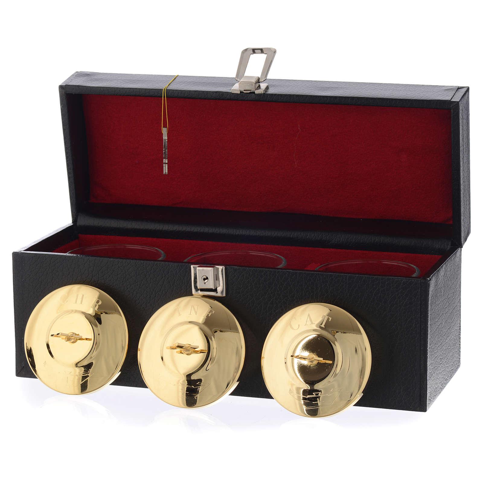 Tres crismeras para altar con custodia 3