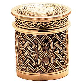 Crismario ottone dorato decorazione filigrana celtica Molina s1