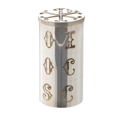 Triple Oil Stock In Silver Plated Brass With Chi Rho Symbol Molina