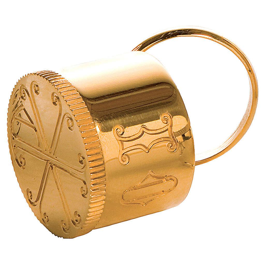 Crismario con anello in ottone dorato simbolo PAX Molina 3
