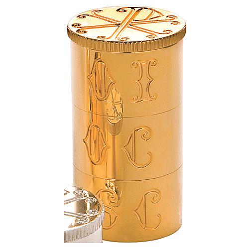 Crismario con anello in ottone dorato simbolo PAX Molina 2