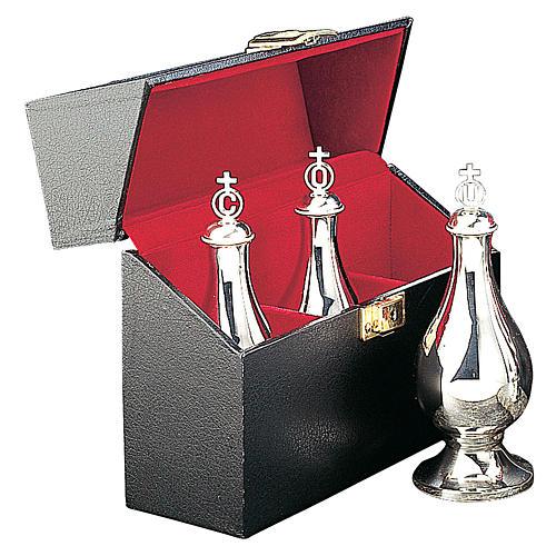 Crismario con tre ampolline ottone argentato custodia Molina 1
