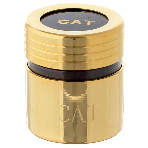 Ölgefäß aus Kunststoff mit vergoldeter Messing-Ummantelung Beschriftung CAT 1