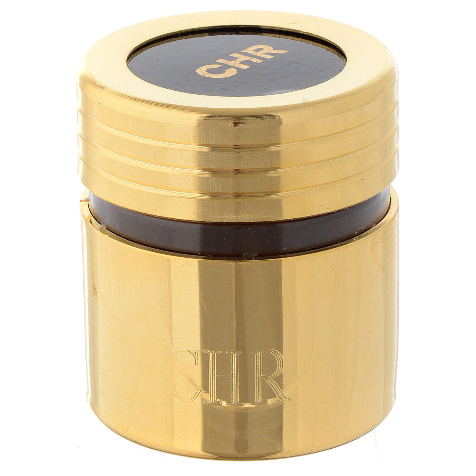 Ölgefäß aus Kunststoff mit vergoldeter Messing-Ummantelung Chrisam 3