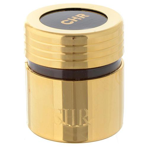 Ölgefäß aus Kunststoff mit vergoldeter Messing-Ummantelung Chrisam 1