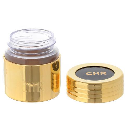 Ölgefäß aus Kunststoff mit vergoldeter Messing-Ummantelung Chrisam 2