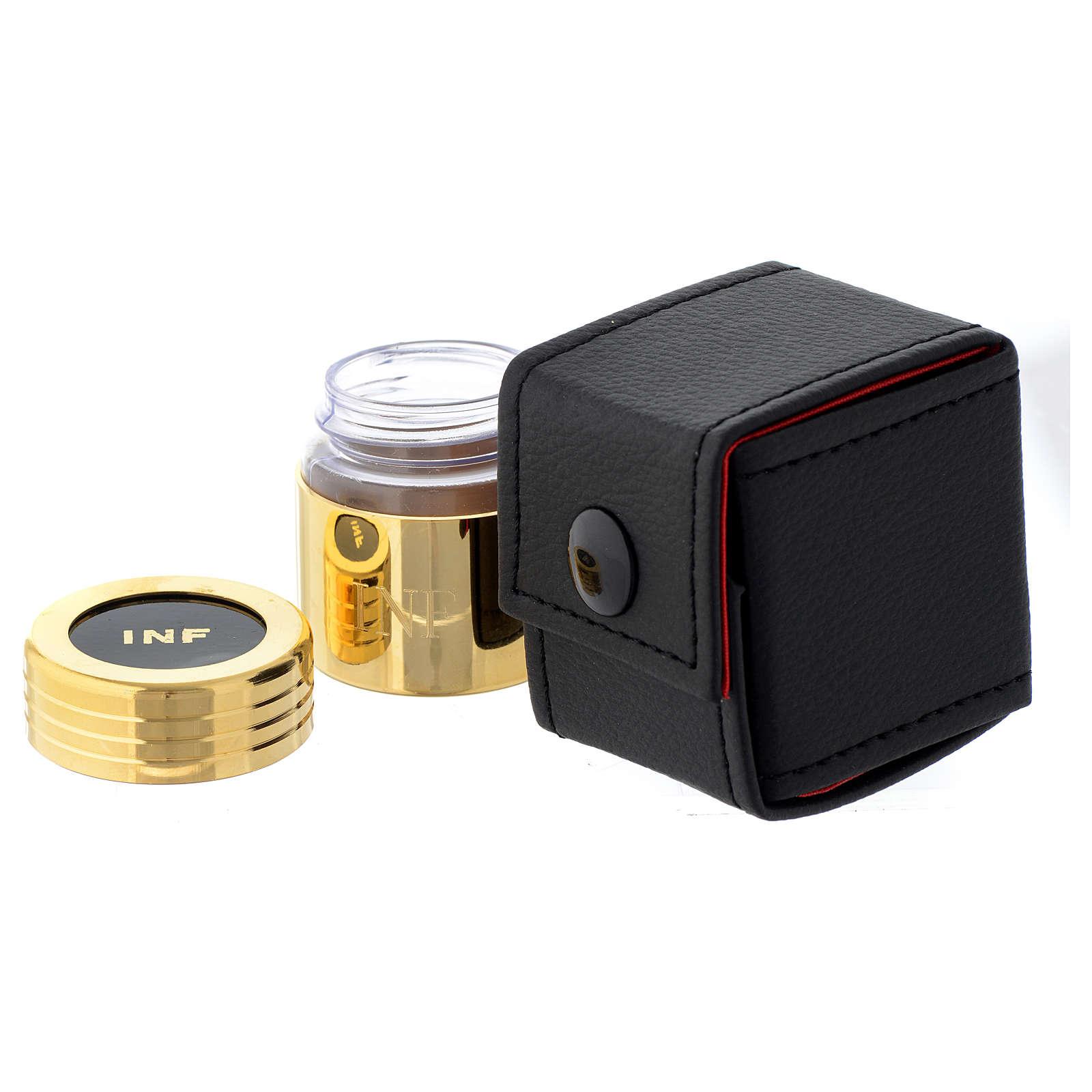 Estuche y frasco de vidrio dorado óleo enfermos 3