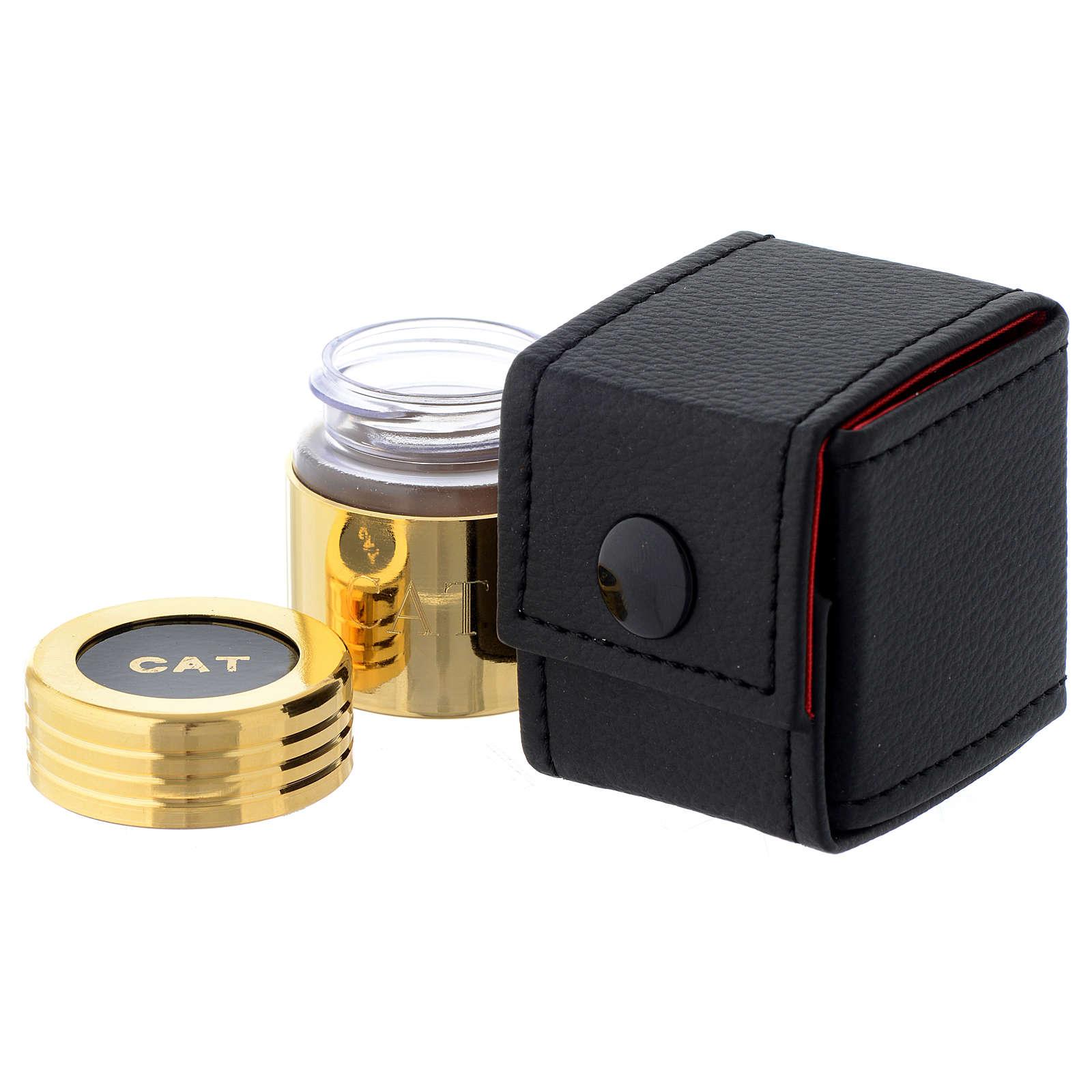 Astuccio e vasetto in vetro dorato olio catecumeni 3