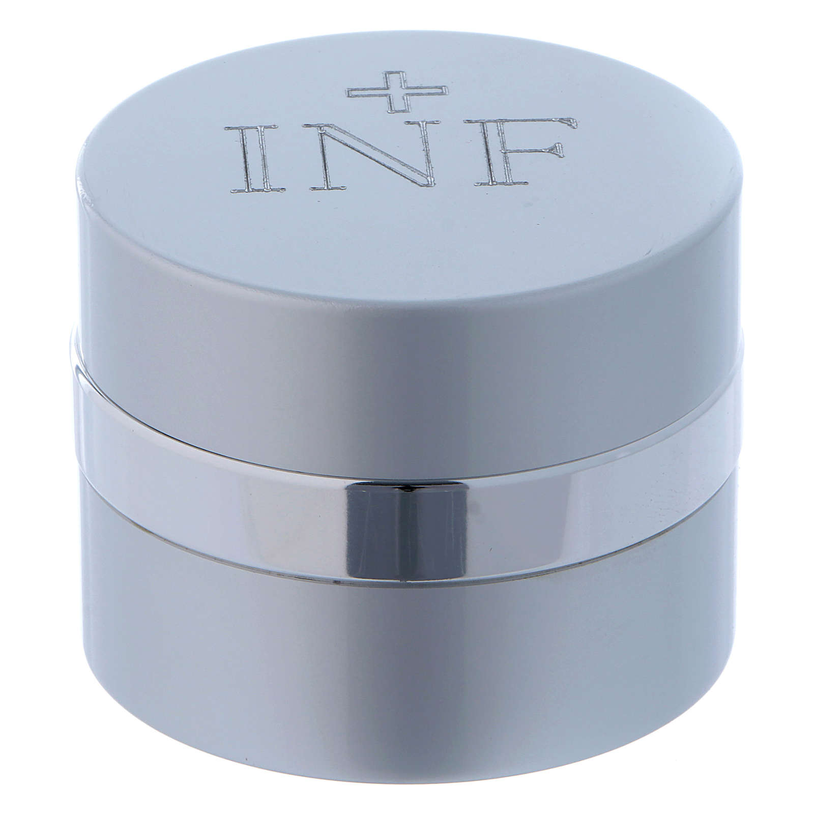 Ampoule pour huiles saintes ronde aluminium argenté diamètre 5 cm 3