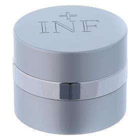 Ampoule pour huiles saintes ronde aluminium argenté diamètre 5 cm s1