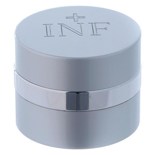 Ampoule pour huiles saintes ronde aluminium argenté diamètre 5 cm 1