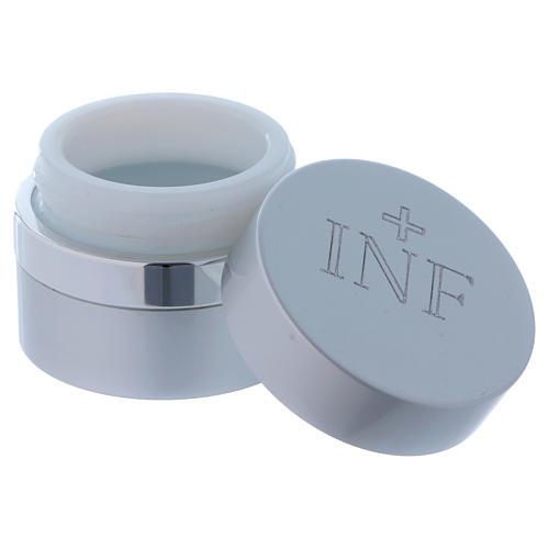 Ampoule pour huiles saintes ronde aluminium argenté diamètre 5 cm 2