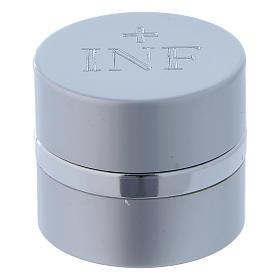 Vasetto per oli Santi tondo alluminio color argento diametro 4,3 cm s1