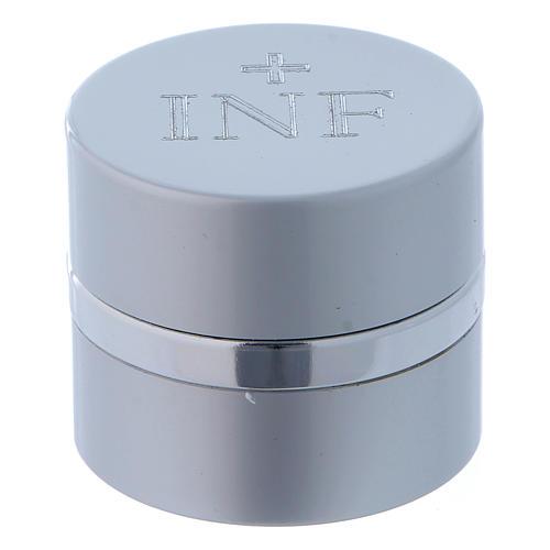 Vasetto per oli Santi tondo alluminio color argento diametro 4,3 cm 1