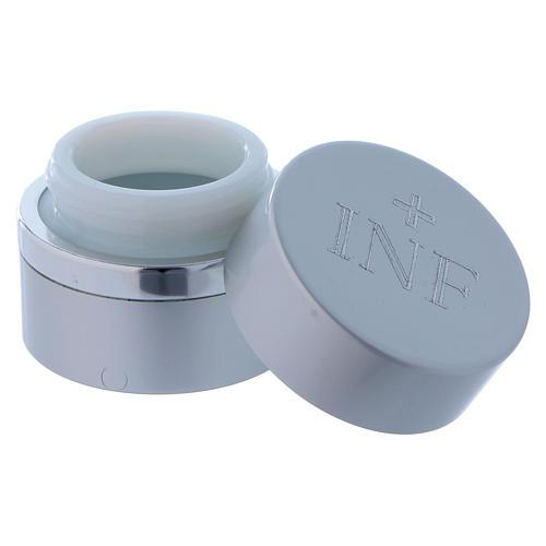 Vasetto per oli Santi tondo alluminio color argento diametro 4,3 cm 2