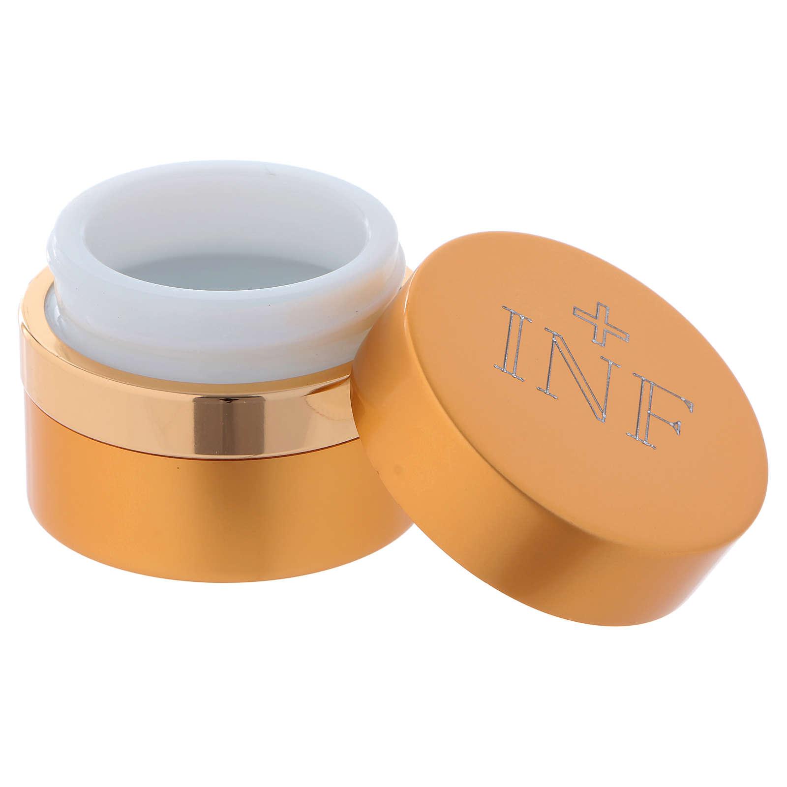 Holy Oils: round container in aluminium, gold 5 cm 3