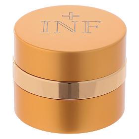 Holy Oils: round container in aluminium, gold 5 cm s1