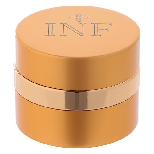 Holy Oils: round container in aluminium, gold 5 cm 1