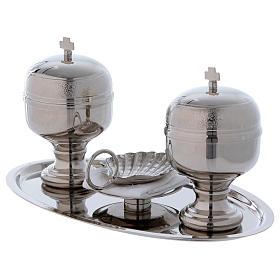 Bandeja bautismo plateado con dos frascos óleos y concha s3