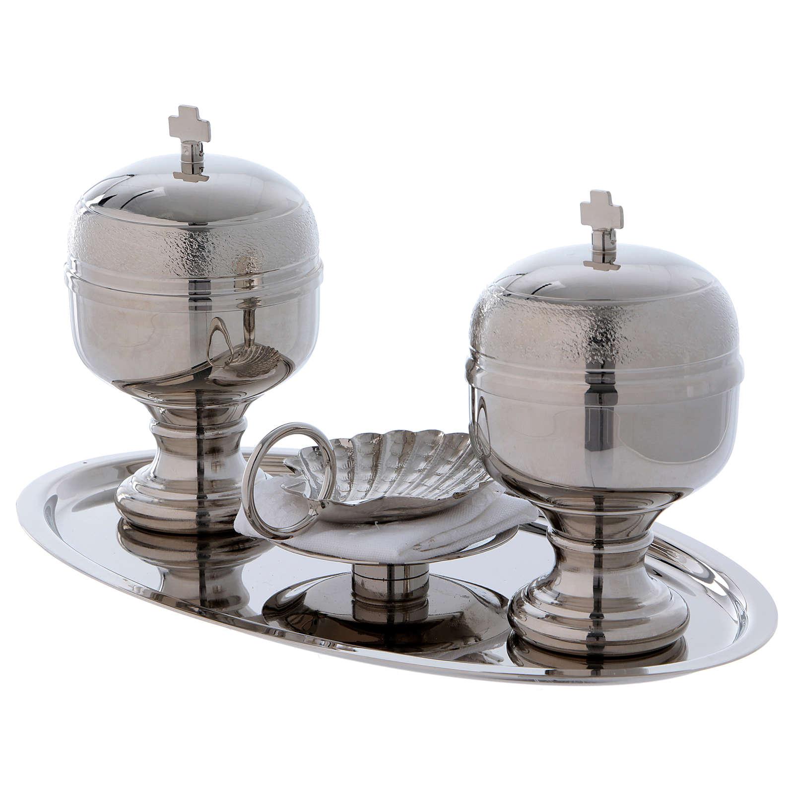 Vassoio battesimo argentato con due vasetti oli e conchiglia  3