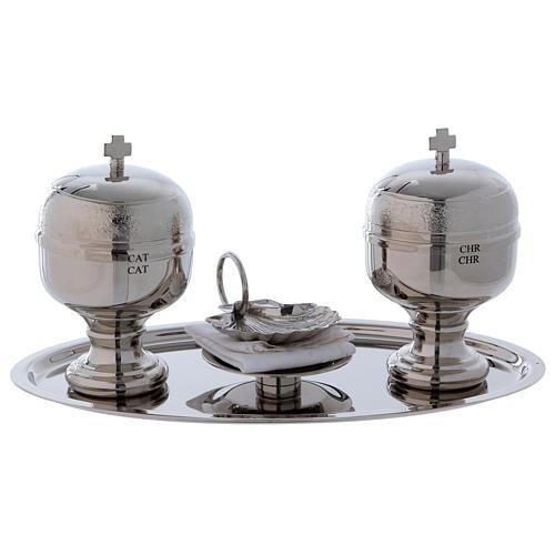 Vassoio battesimo argentato con due vasetti oli e conchiglia  1