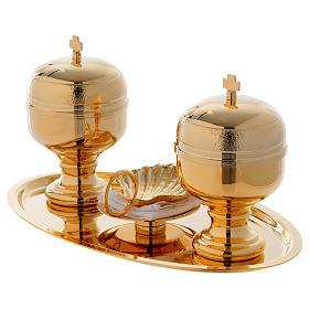 Vassoio battesimo dorato con due vasetti oli e conchiglia  s3