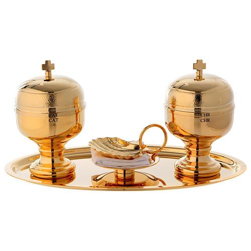 Vassoio battesimo dorato con due vasetti oli e conchiglia  1