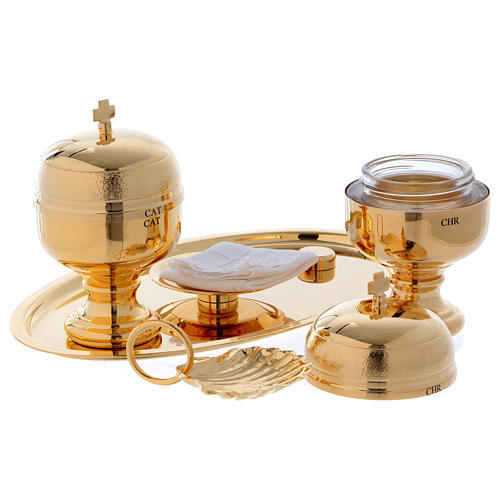 Vassoio battesimo dorato con due vasetti oli e conchiglia  2