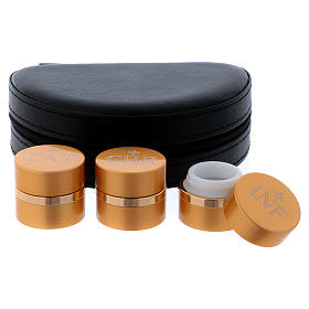 Estuche con tres frascos santos óleos dorados diámetro 4,3 cm s5