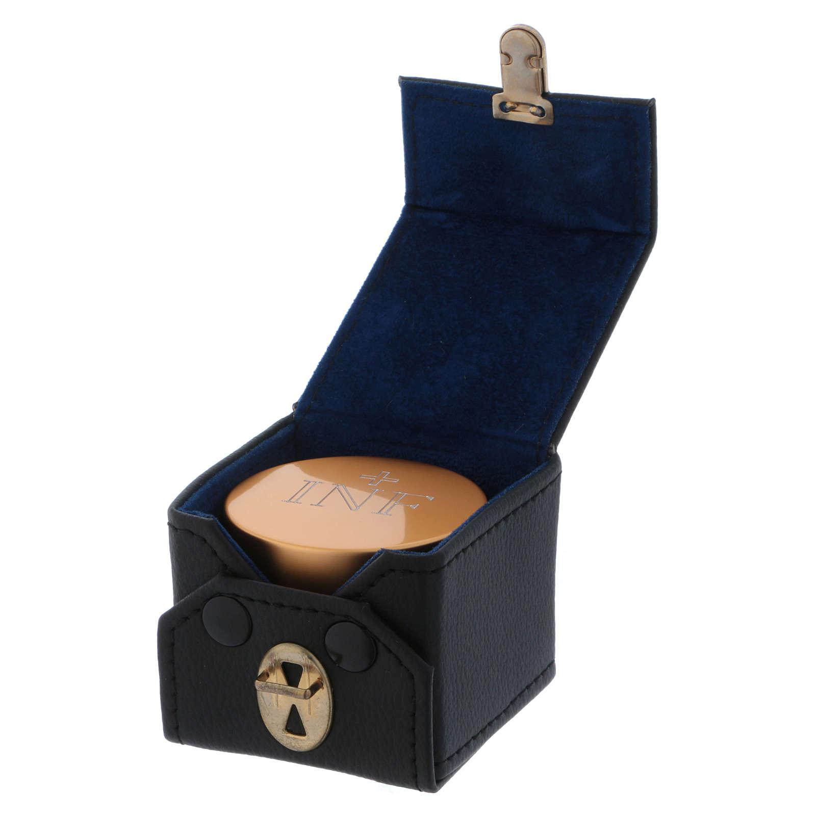 Estuche cúbico con frasco santo óleo de aluminio dorado diámetro 5 cm 3