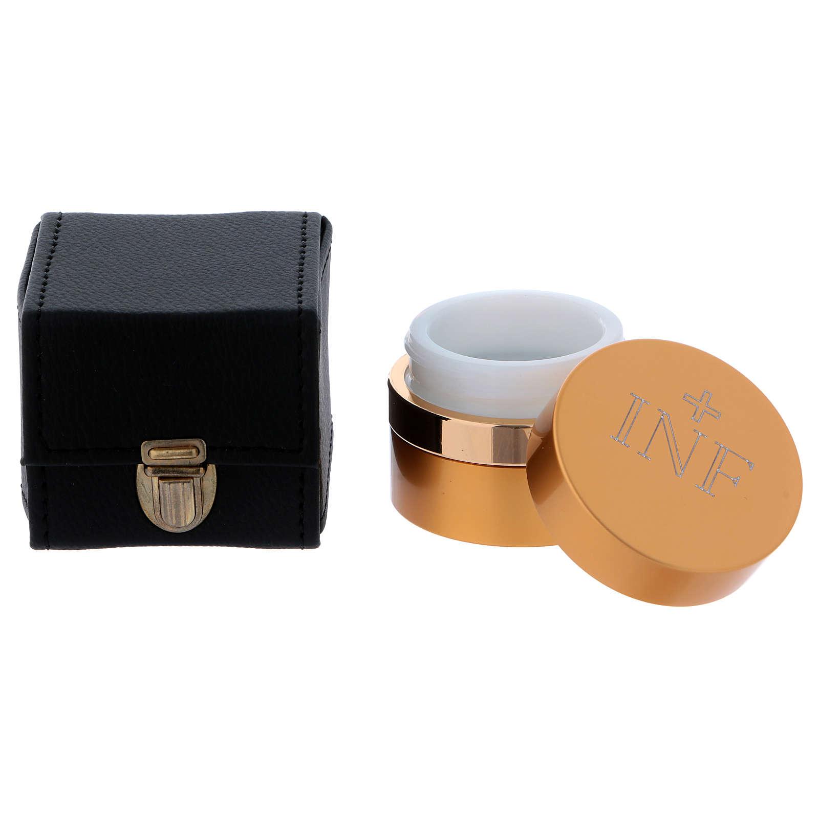 Astuccio cubico con  vasetto olio santo in alluminio dorato diametro 5 cm  3