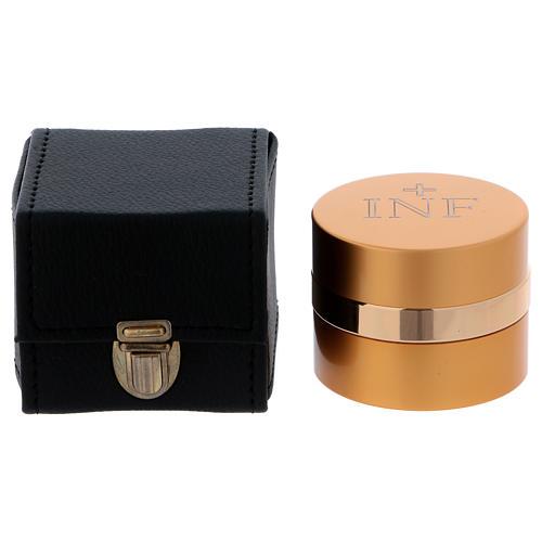 Astuccio cubico con  vasetto olio santo in alluminio dorato diametro 5 cm  1