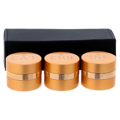 Astuccio con tre vasetti oli Sacri alluminio dorato diametro 5 cm 1