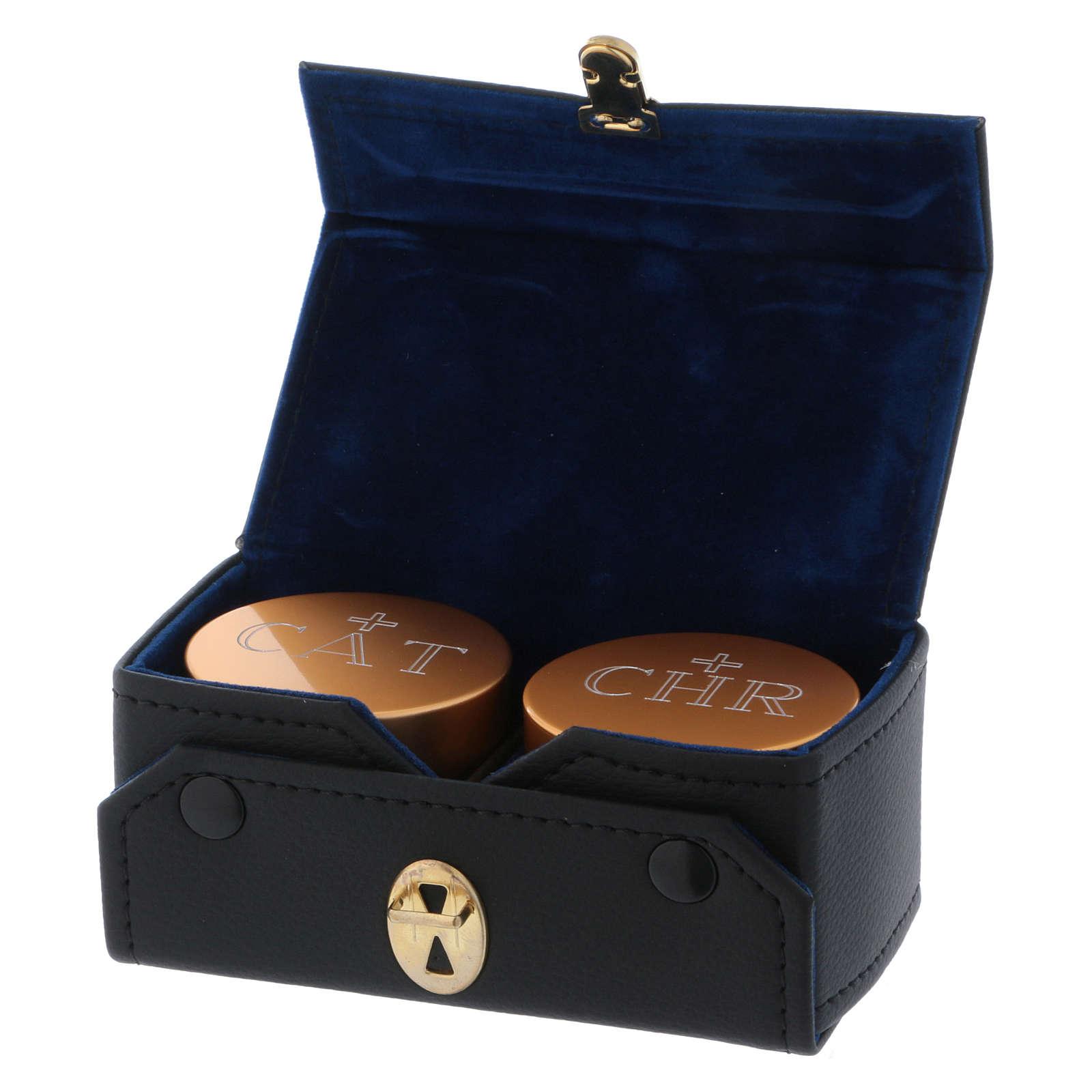 Estuche retangular con dos frascos para santos óleos de aluminio dorado diámetro 5 cm 3