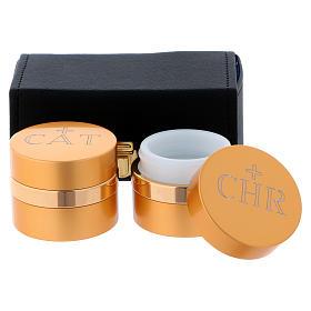 Estuche retangular con dos frascos para santos óleos de aluminio dorado diámetro 5 cm s2