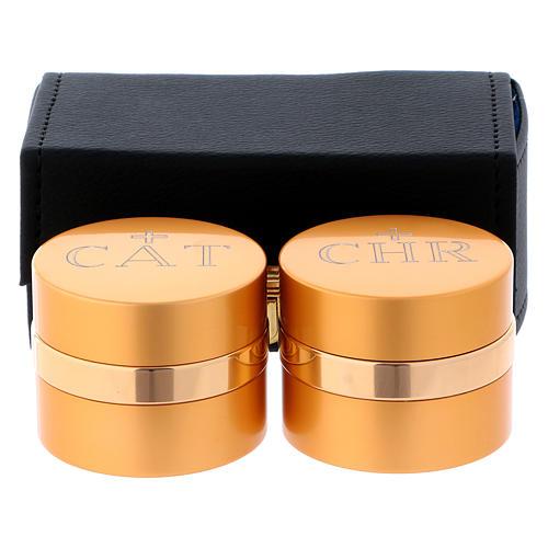 Estuche retangular con dos frascos para santos óleos de aluminio dorado diámetro 5 cm 1