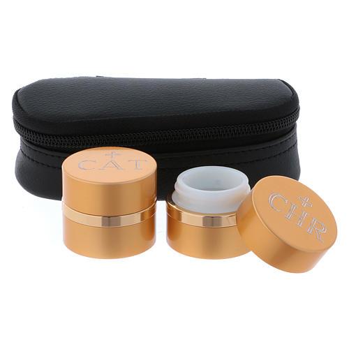 Astuccio ovale in similpelle con due vasetti in alluminio dorato per oli santi 4,3 cm diametro 2