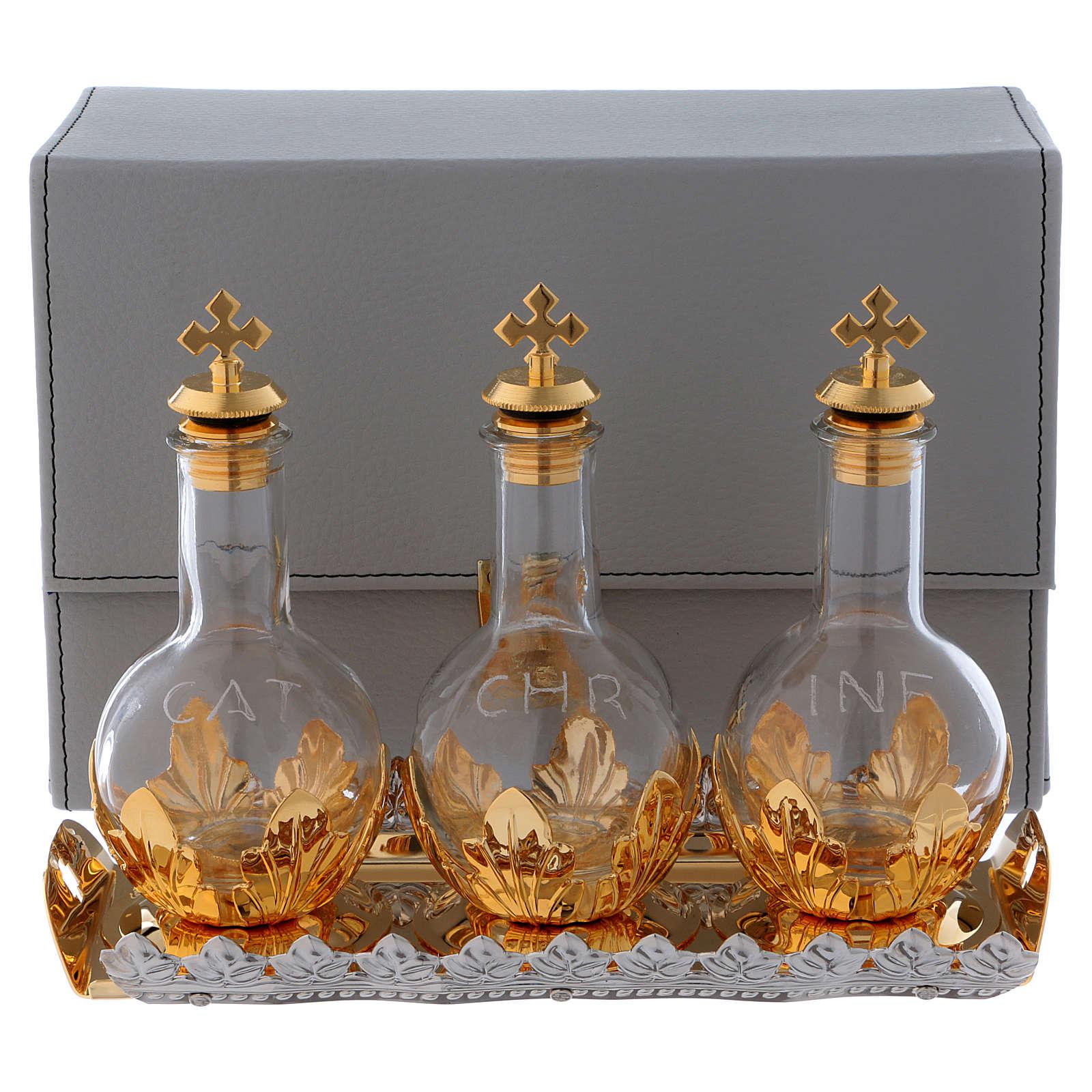 Étui avec trois ampoules bouchon à vis et plateau set pour huiles saintes 3