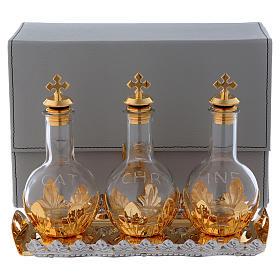 Étui avec trois ampoules bouchon à vis et plateau set pour huiles saintes s1