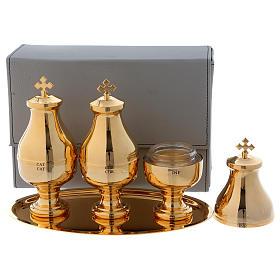 Estuche similcuero con tres frascos Crismera alto para santos óleos s2