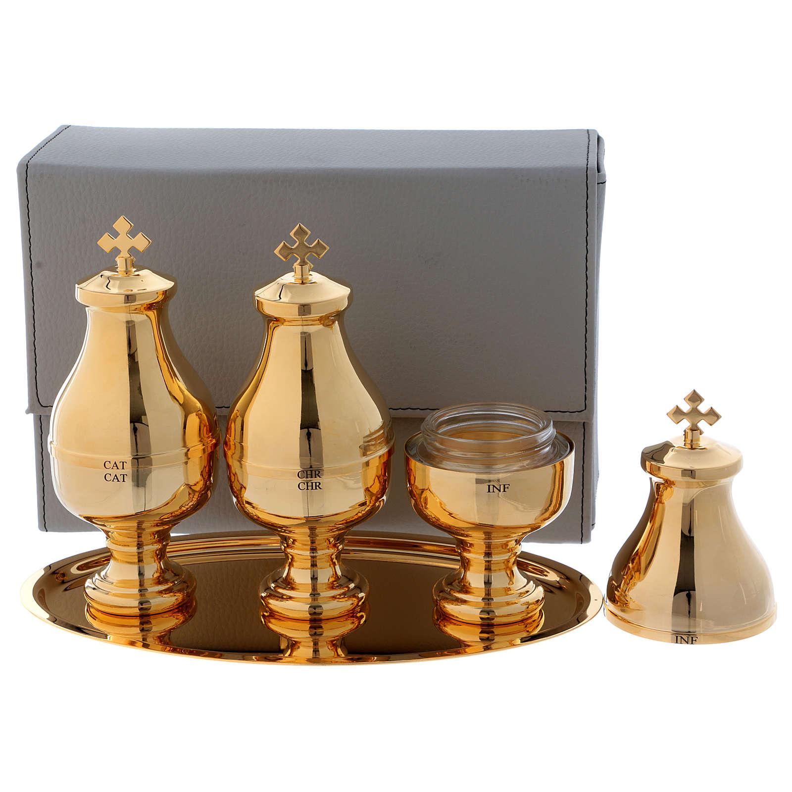 Astuccio similpelle con tre vasetti Crismera alto per oli sacri  3